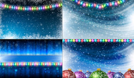 Christmas backgrounds. Set of Christmas backgrounds with garlands and balls Royalty Free Stock Image