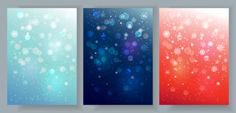 Christmas backgrounds set. Vector Christmas and New Year typographical backgrounds set. Abstract holiday backgrounds with lights and snowflakes for greeting card Royalty Free Stock Image