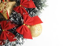 Christmas backgroung. With balls and red ribbons Stock Image