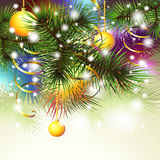 Christmas backgroung with 3 gold bolls Royalty Free Stock Images