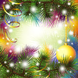 Christmas backgroung with gold ribbon Stock Photos