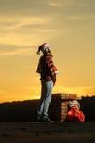 Christmas bad santa on chimney Stock Image
