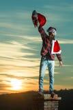 Christmas bad santa on chimney Stock Photo