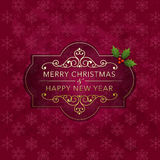 Christmas badge and background Stock Images