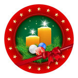 Christmas badge with candle, balls, spruce and bow Royalty Free Stock Photos