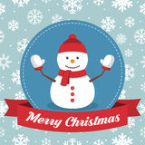 Christmas badge with snowman and ribbon on a snowflakes background. Christmas  badge with snowman and ribbon on a snowflakes background Stock Photos