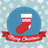 Christmas badge with sock and ribbon on a snowflakes background Stock Photos