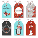 Christmas badges with animals bird, penguin. New Year and Christmas cards. Stylish tags with Christ Stock Photography