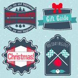 Christmas badges, labels, stickers in retro style vector Stock Photos