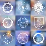 Christmas badges set on blurred background. Vector set of 9 Christmas badges set on blurred background stock illustration
