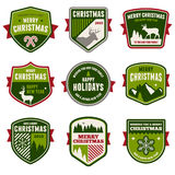 Christmas badges. Set of vintage Christmas badges and emblems Stock Images