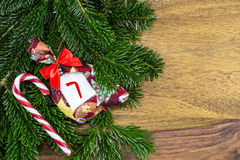 A Christmas bag and candy cane Royalty Free Stock Images