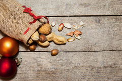 Christmas bag with different nuts Stock Images