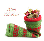 Christmas bag with gifts Royalty Free Stock Image