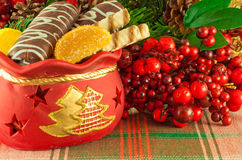 Christmas bag with gifts, cookies Stock Photo