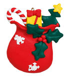 Christmas bag with gifts made of polymer clay Stock Photography