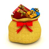 Christmas bag with gifts over white Stock Photography