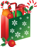 Christmas bag with ornaments Royalty Free Stock Image