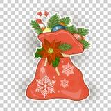 Christmas bag santa claus  illustration  on white background Royalty Free Stock Image