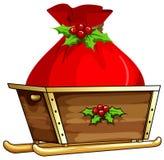 Christmas bag on sledge. Illustration Royalty Free Stock Image