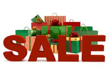 Christmas bags and boxes with a word Sale Royalty Free Stock Images