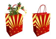 Christmas bags, cdr vector. Two christmas red and golden bags on white background, vector format Royalty Free Stock Photo