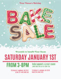 Christmas Bake Sale Flyer. Christmas holiday bake sale flyer template with hand drawn cookie letters royalty free illustration