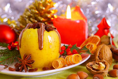 Christmas baked apple.Advent Stock Images