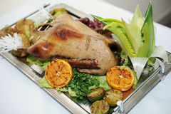 The Christmas baked goose with oranges Royalty Free Stock Photography