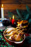 The Christmas baked quails with mushrooms Stock Images