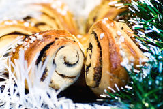 Christmas baked rolls Stock Image