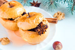 Christmas baked stuffed apples Stock Photography