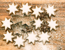 Christmas bakery. cinnamon stars with sugar powder Royalty Free Stock Image