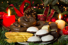 Christmas bakery. Cookies and candy at Christmas time Stock Images