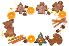 Christmas bakery frame with gingerbread Royalty Free Stock Photography
