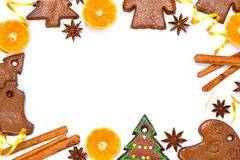 Christmas bakery frame with gingerbread Royalty Free Stock Image