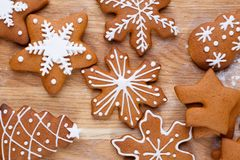 Christmas bakery. Freshly baked homemade gingerbread cookies dec royalty free stock photos