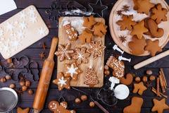 Christmas bakery. Freshly baked homemade gingerbread cookies, do stock photos