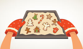 Christmas bakery gingerbread cookies. Christmas vector illustration Stock Photos