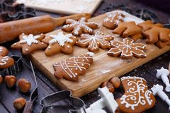 Christmas bakery. Homemade gingerbread cookies decorated with ic royalty free stock photo