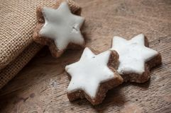 Christmas bakery shaped star with decorative hessian Royalty Free Stock Images