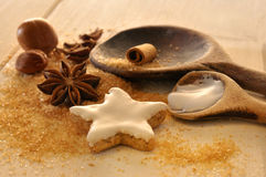 Christmas baking. Ingredients and equipment for christmas baking Royalty Free Stock Photo