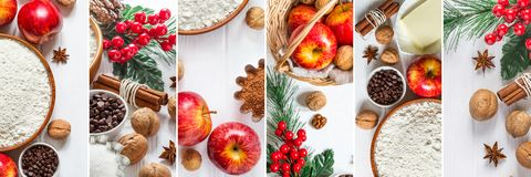 Christmas baking with apples collage. Banner long format Stock Photos