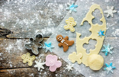 Christmas Baking Background: Dough, Cookie Cutters And Snowflake Royalty Free Stock Image