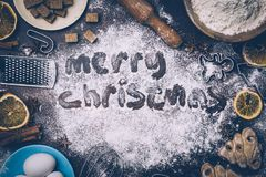 Christmas Baking background. Ingredients for cooking christmas b stock photos