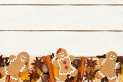 Christmas baking bottom border against white wood Stock Photo