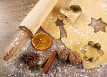 Christmas baking, cake form and spices Royalty Free Stock Photos