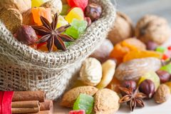 Christmas baking concept with nuts and dried fruits in the kitchen stock photos