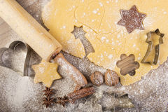 Christmas baking, cookies, rolling pin and  spices on wood Stock Photos