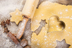 Christmas baking, cookies, rolling pin and spices on wood Stock Images